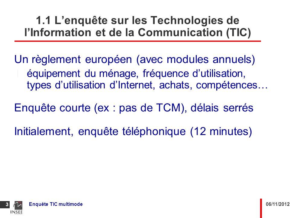 06/11/2012Enquête TIC multimode 4 1.2 Enquêtes TIC 2007 à 2010 Echantillon unique en 2007 : 7 000 ménages tirés par Page Jaune Marketing Service (PJMS) dans la base des abonnés France Telecom Collecte par téléphone.