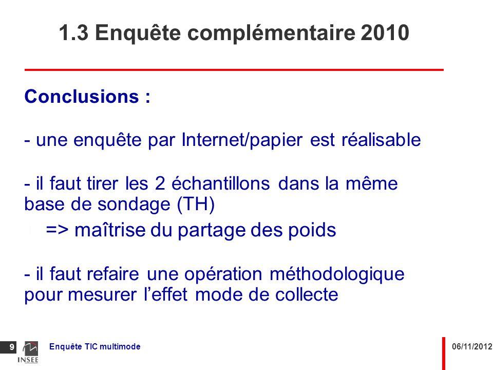 06/11/2012Enquête TIC multimode 9 Conclusions : - une enquête par Internet/papier est réalisable - il faut tirer les 2 échantillons dans la même base