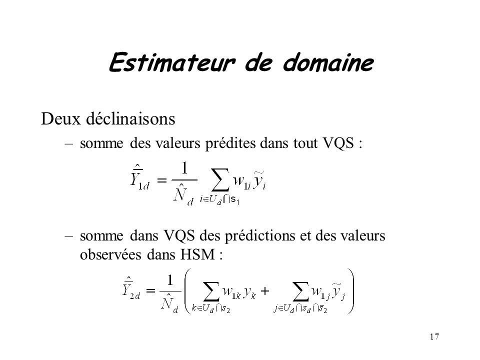 17 Estimateur de domaine Deux déclinaisons –somme des valeurs prédites dans tout VQS : –somme dans VQS des prédictions et des valeurs observées dans H
