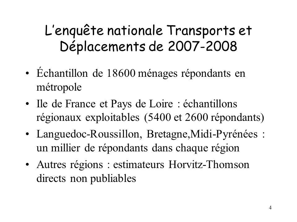 4 Lenquête nationale Transports et Déplacements de 2007-2008 Échantillon de 18600 ménages répondants en métropole Ile de France et Pays de Loire : éch