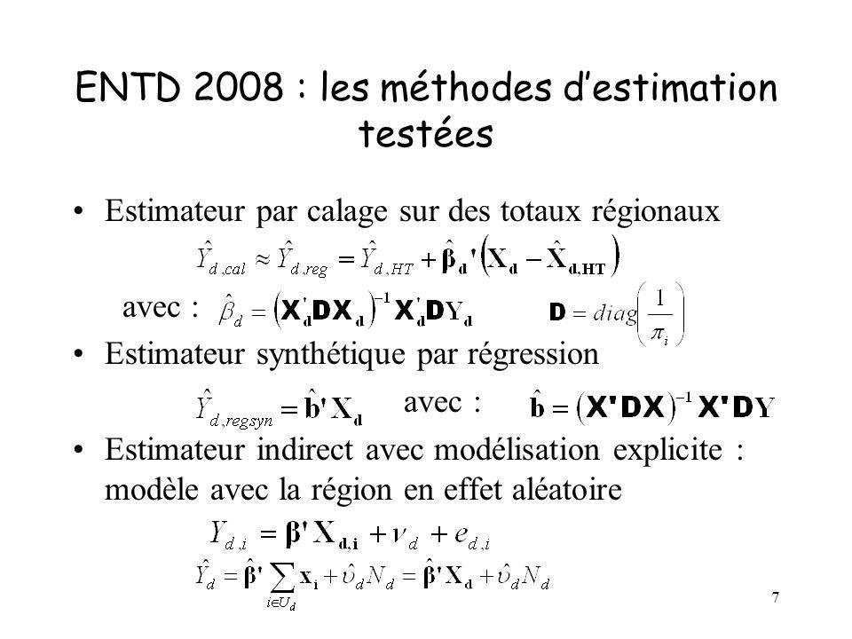 7 ENTD 2008 : les méthodes destimation testées Estimateur par calage sur des totaux régionaux avec : Estimateur synthétique par régression avec : Estimateur indirect avec modélisation explicite : modèle avec la région en effet aléatoire