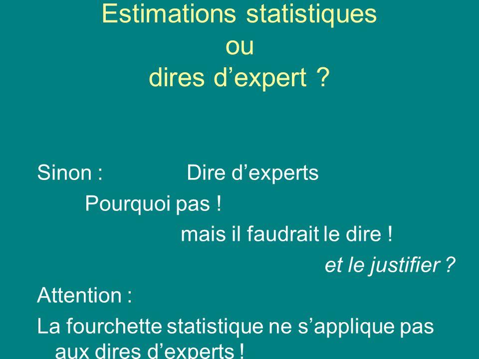 Estimations statistiques ou dires dexpert .Sinon : Dire dexperts Pourquoi pas .