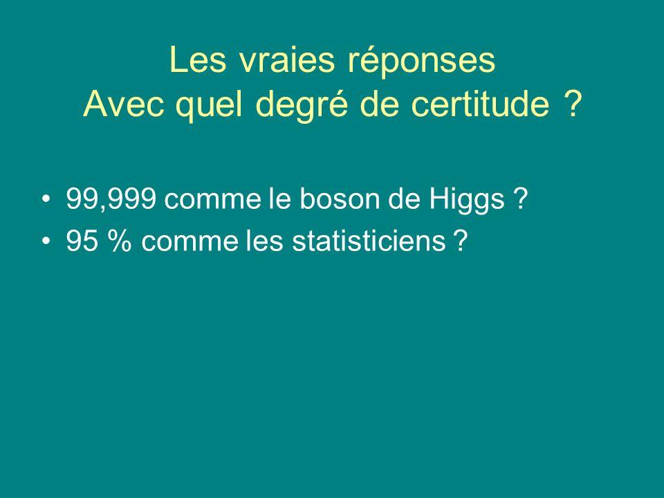 Les vraies réponses Avec quel degré de certitude ? 99,999 comme le boson de Higgs ? 95 % comme les statisticiens ?