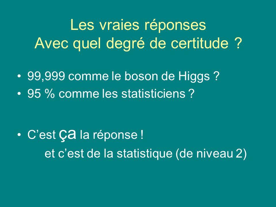 Les vraies réponses Avec quel degré de certitude ? 99,999 comme le boson de Higgs ? 95 % comme les statisticiens ? Cest ça la réponse ! et cest de la