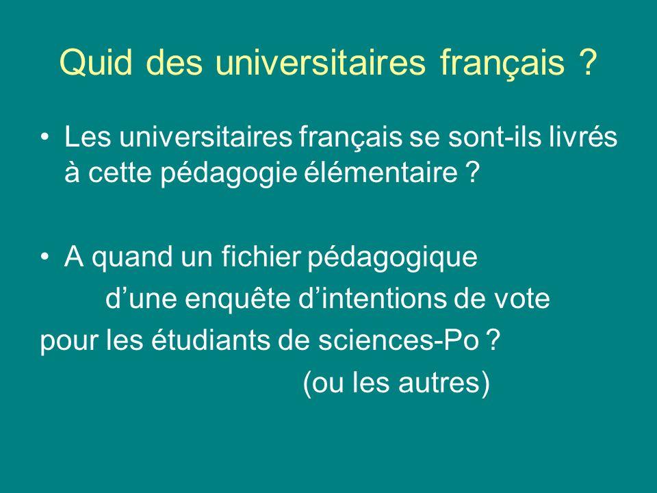 Quid des universitaires français ? Les universitaires français se sont-ils livrés à cette pédagogie élémentaire ? A quand un fichier pédagogique dune