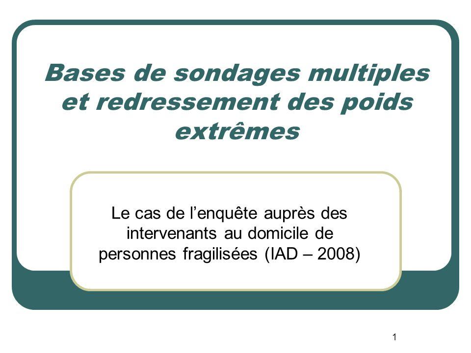 1 Bases de sondages multiples et redressement des poids extrêmes Le cas de lenquête auprès des intervenants au domicile de personnes fragilisées (IAD – 2008)