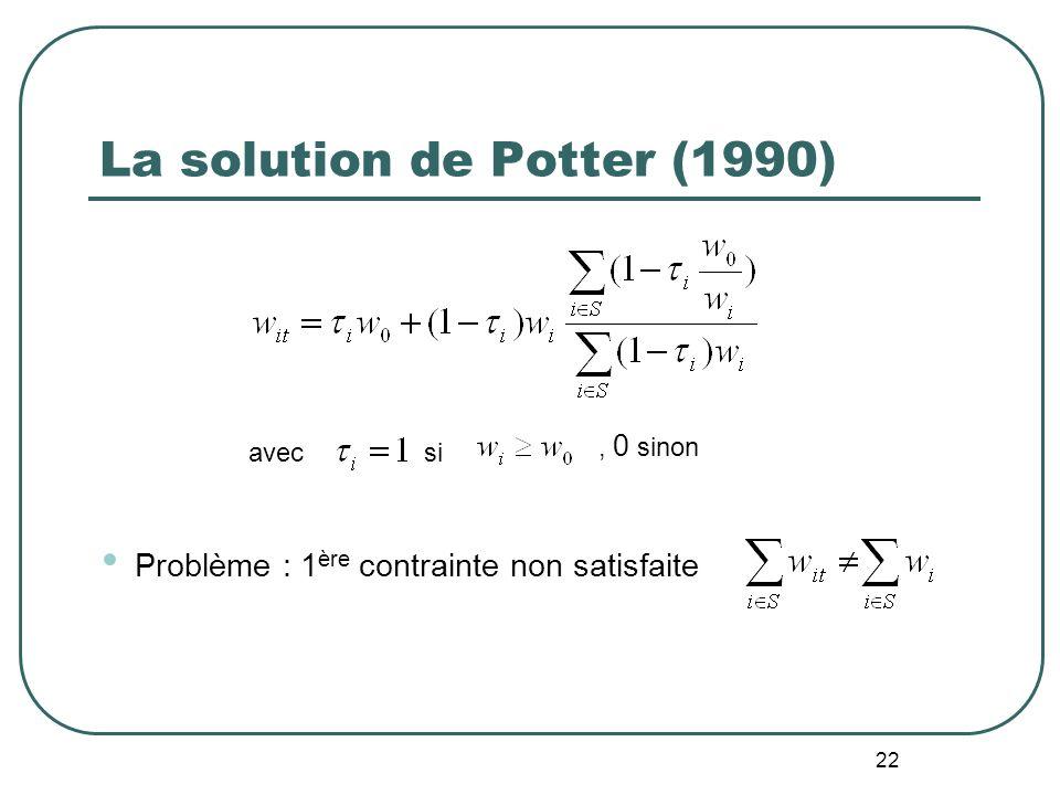 22 La solution de Potter (1990) Problème : 1 ère contrainte non satisfaite avecsi, 0 sinon