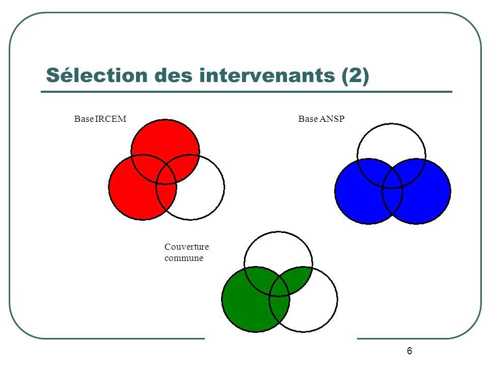 6 Couverture commune Sélection des intervenants (2) Base IRCEM Base ANSP
