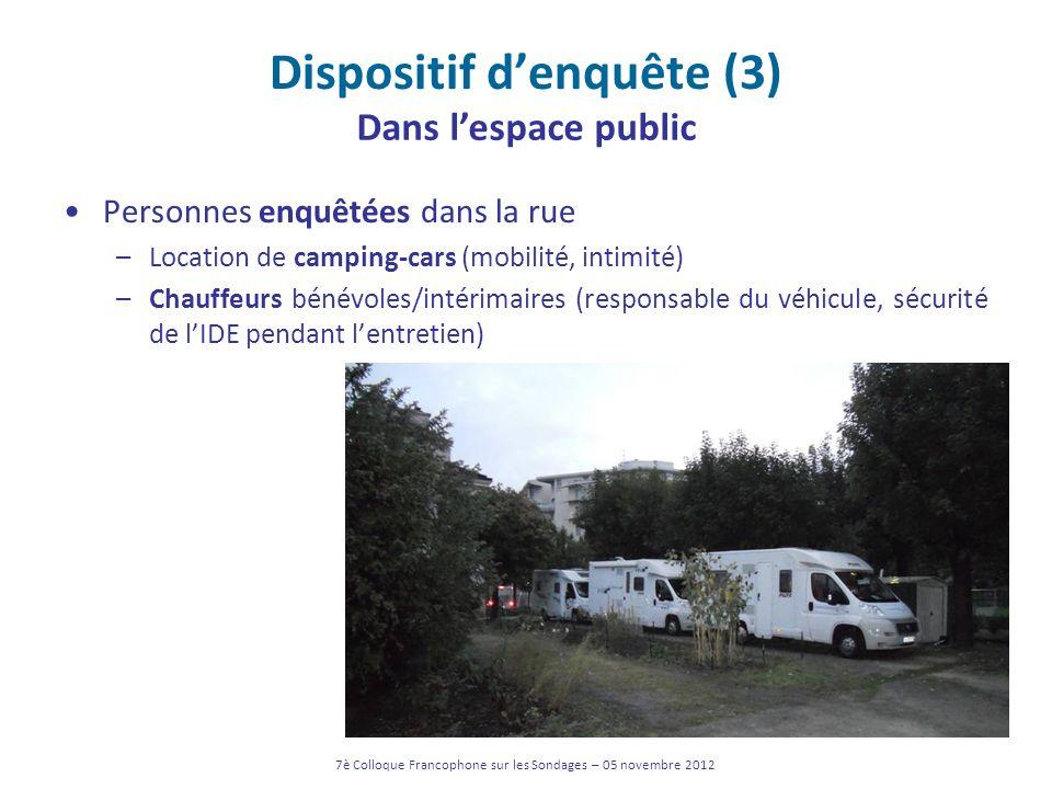 Dispositif denquête (3) Personnes enquêtées dans la rue –Location de camping-cars (mobilité, intimité) –Chauffeurs bénévoles/intérimaires (responsable