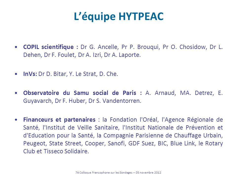 Léquipe HYTPEAC COPIL scientifique : Dr G. Ancelle, Pr P. Brouqui, Pr O. Chosidow, Dr L. Dehen, Dr F. Foulet, Dr A. Izri, Dr A. Laporte. InVs: Dr D. B