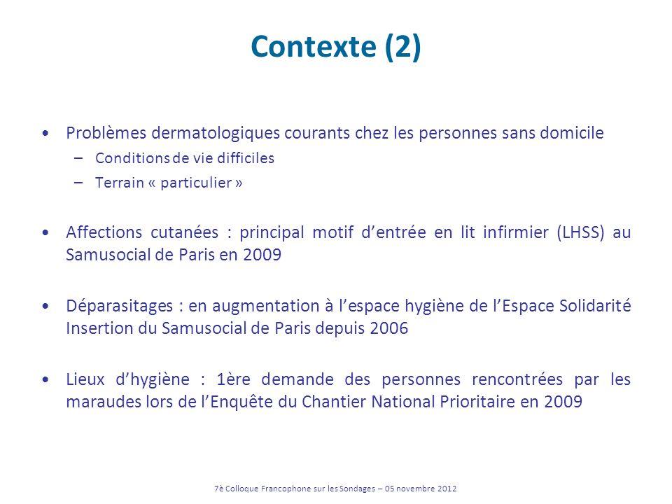 Contexte (2) Problèmes dermatologiques courants chez les personnes sans domicile –Conditions de vie difficiles –Terrain « particulier » Affections cut