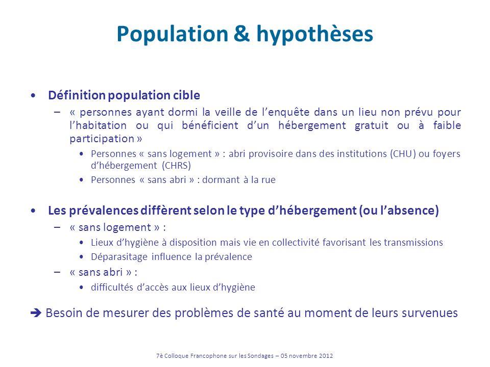 Population & hypothèses Définition population cible –« personnes ayant dormi la veille de lenquête dans un lieu non prévu pour lhabitation ou qui béné