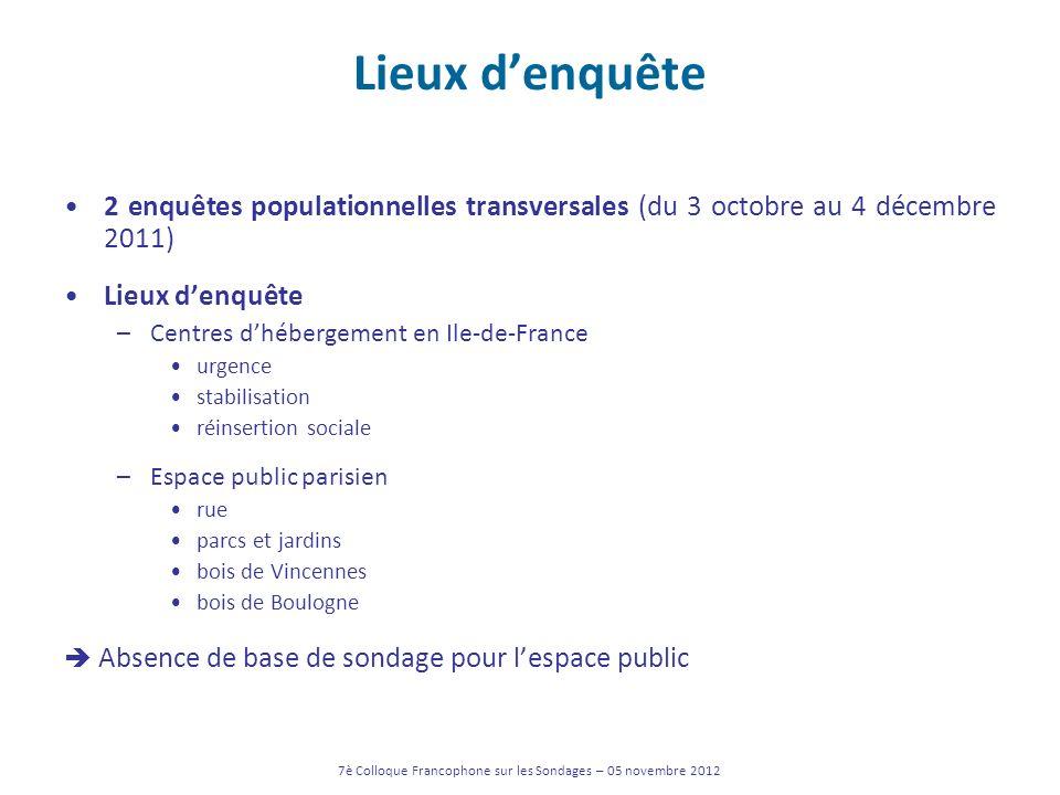 Lieux denquête 2 enquêtes populationnelles transversales (du 3 octobre au 4 décembre 2011) Lieux denquête –Centres dhébergement en Ile-de-France urgen