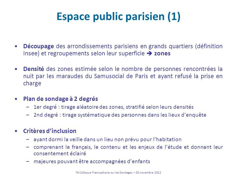 Espace public parisien (1) Découpage des arrondissements parisiens en grands quartiers (définition Insee) et regroupements selon leur superficie zones