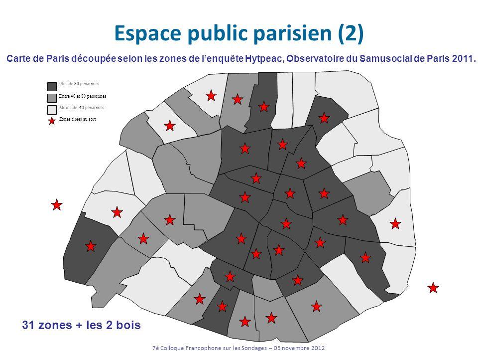 Espace public parisien (2) Plus de 80 personnes Entre 40 et 80 personnes Moins de 40 personnes 31 zones + les 2 bois Carte de Paris découpée selon les
