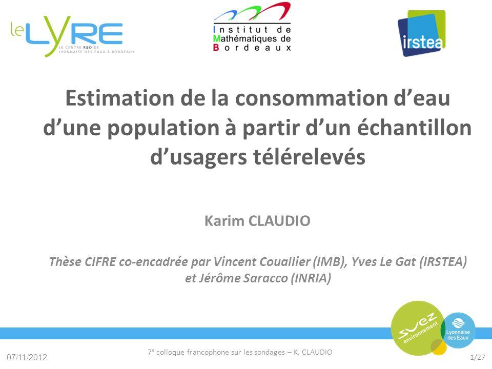 Cliquez pour modifier le style du titre Cliquez pour modifier le style des sous-titres du masque 07/11/2012 7 e colloque francophone sur les sondages