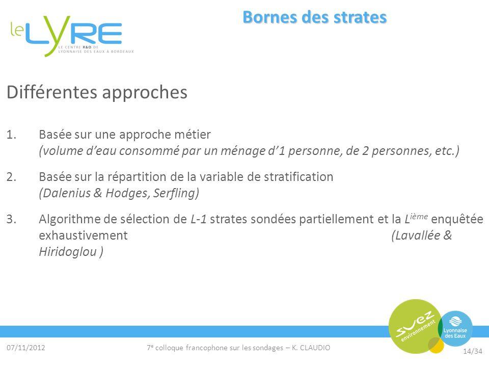 07/11/2012 14/34 7 e colloque francophone sur les sondages – K. CLAUDIO Bornes des strates Différentes approches 1.Basée sur une approche métier (volu