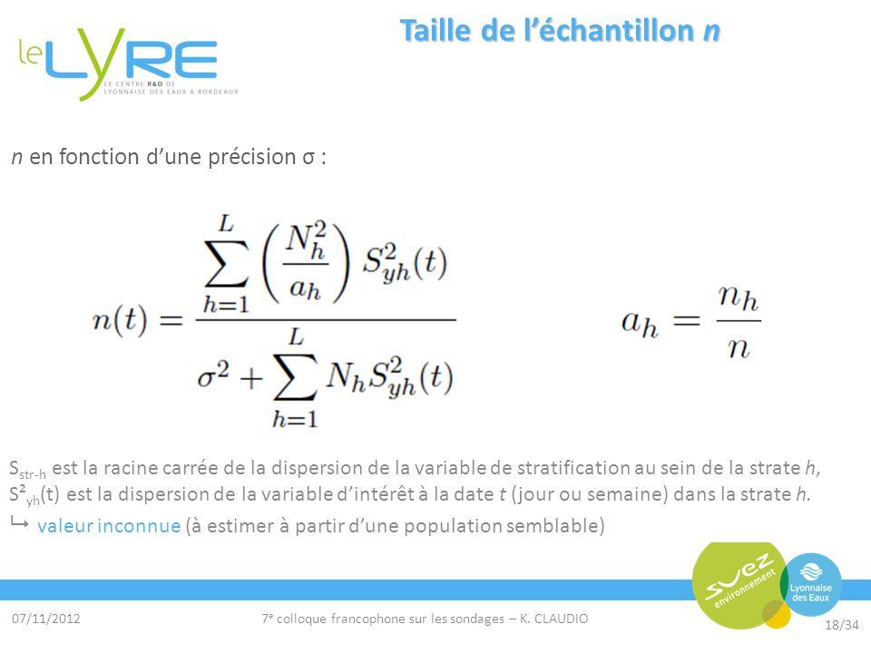 07/11/2012 18/34 7 e colloque francophone sur les sondages – K. CLAUDIO n en fonction dune précision σ : Objectif = détection de fuite σ cible = 13 m