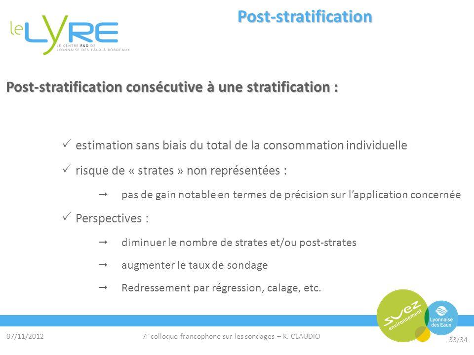 07/11/2012 33/34 7 e colloque francophone sur les sondages – K. CLAUDIO Post-stratification Post-stratification consécutive à une stratification : est