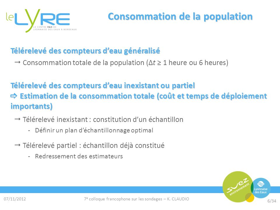 07/11/2012 6/34 7 e colloque francophone sur les sondages – K. CLAUDIO Consommation de la population Télérelevé des compteurs deau généralisé Consomma