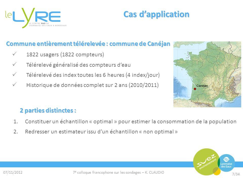 07/11/2012 7/34 7 e colloque francophone sur les sondages – K. CLAUDIO Cas dapplication Commune entièrement télérelevée : commune de Canéjan Commune e