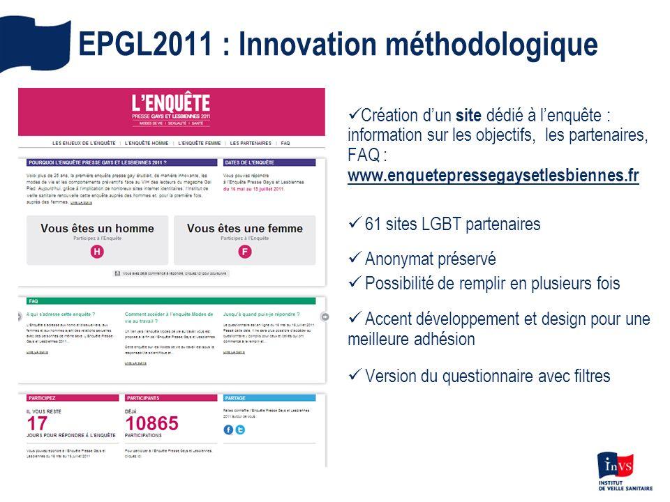 EPGL2011 : Innovation méthodologique Création dun site dédié à lenquête : information sur les objectifs, les partenaires, FAQ : www.enquetepressegayse