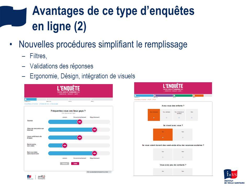 Avantages de ce type denquêtes en ligne (2) Nouvelles procédures simplifiant le remplissage –Filtres, –Validations des réponses –Ergonomie, Désign, in