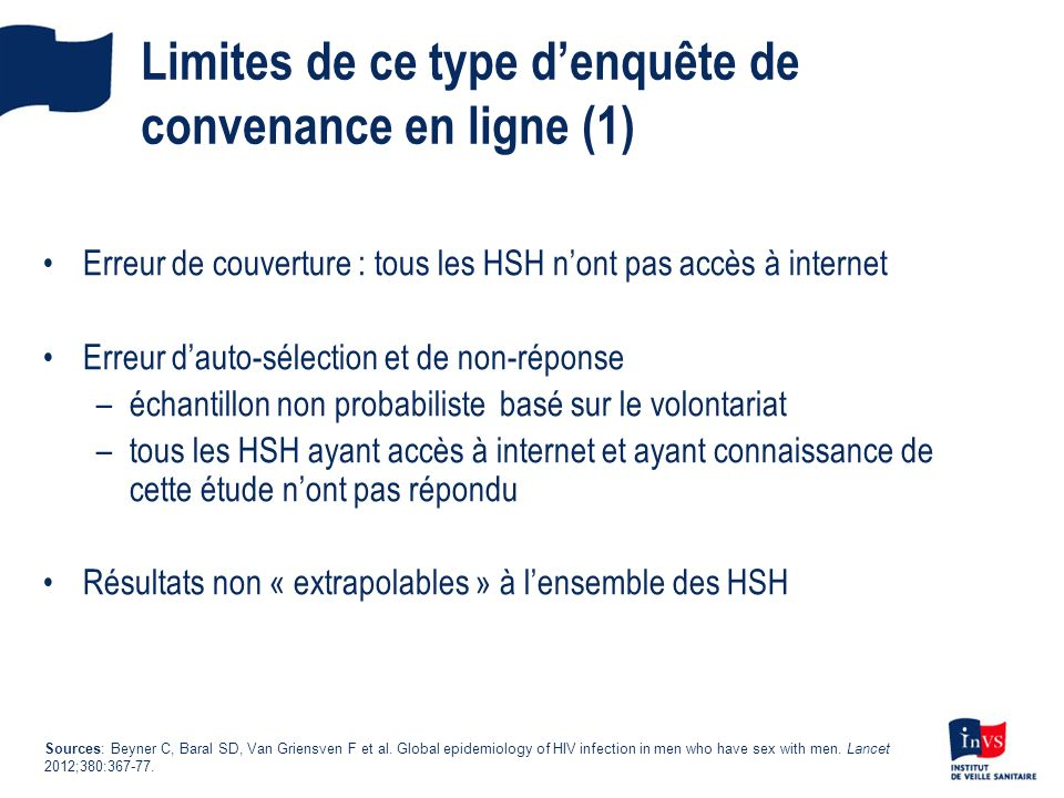Erreur de couverture : tous les HSH nont pas accès à internet Erreur dauto-sélection et de non-réponse –échantillon non probabiliste basé sur le volon