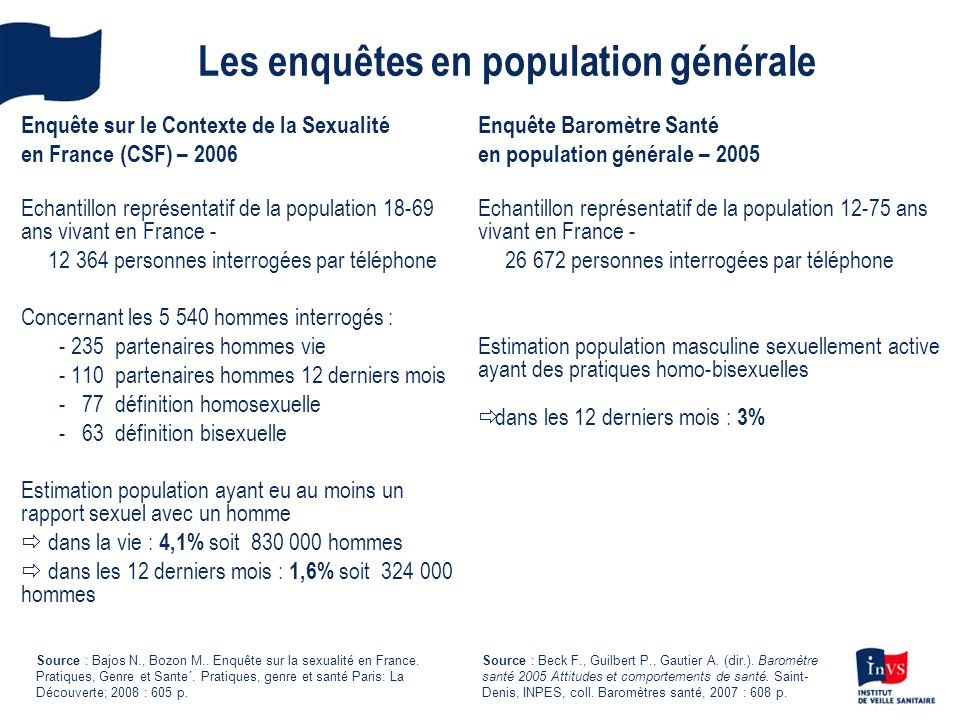 Les enquêtes en population générale Enquête sur le Contexte de la Sexualité en France (CSF) – 2006 Echantillon représentatif de la population 18-69 an