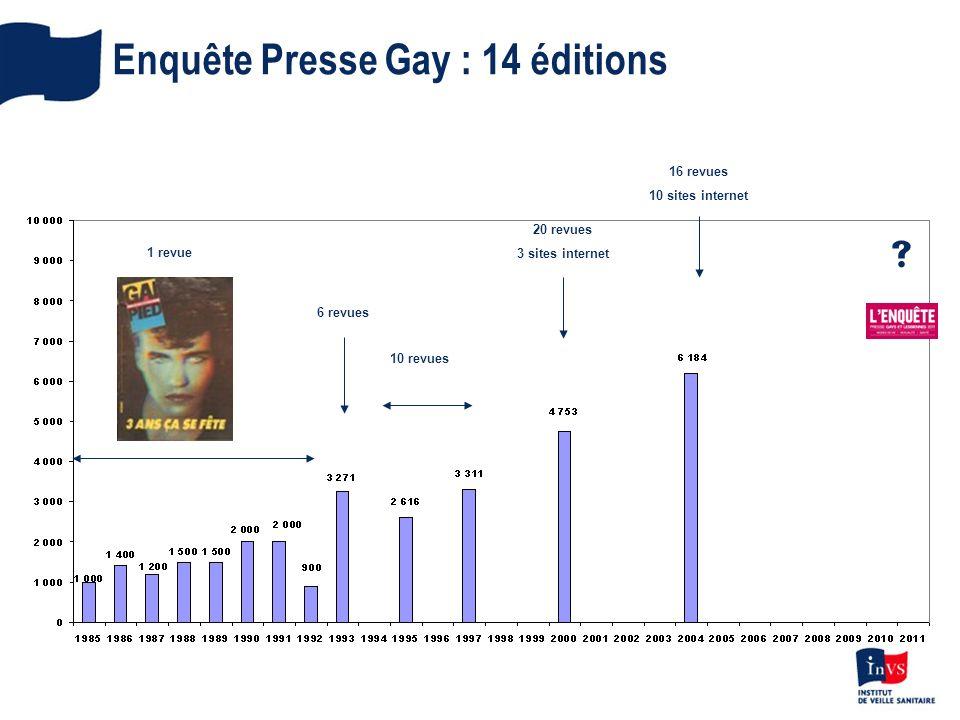 1 revue 6 revues 10 revues 20 revues 3 sites internet 16 revues 10 sites internet Enquête Presse Gay : 14 éditions