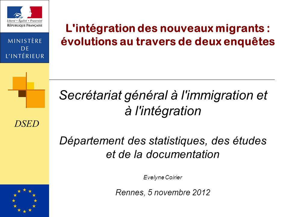 L'intégration des nouveaux migrants : évolutions au travers de deux enquêtes Secrétariat général à l'immigration et à l'intégration Département des st