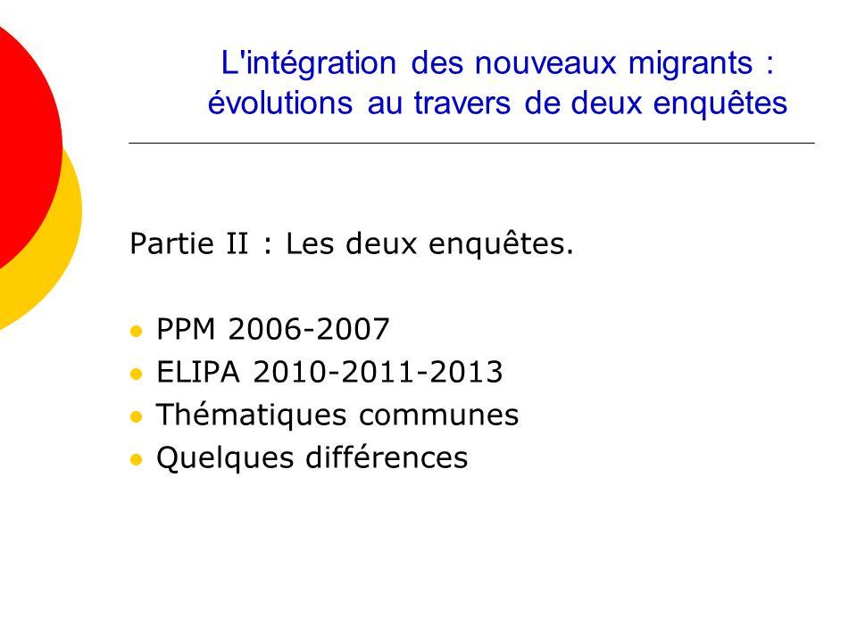Partie II : Les deux enquêtes. PPM 2006-2007 ELIPA 2010-2011-2013 Thématiques communes Quelques différences L'intégration des nouveaux migrants : évol