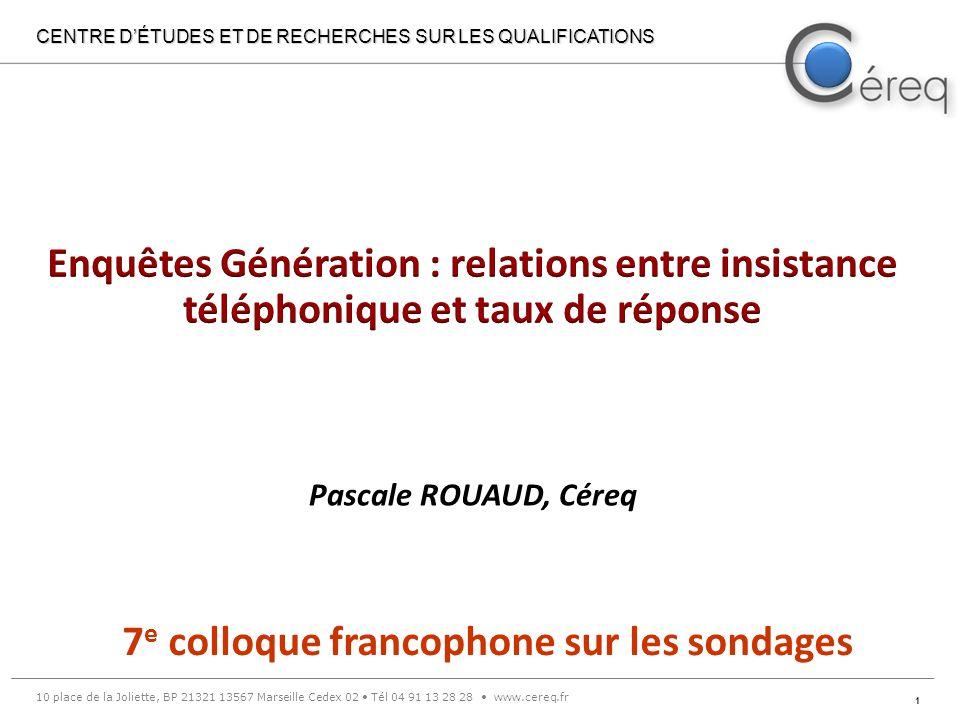 2 I.Les enquêtes Génération II. La problématique III.