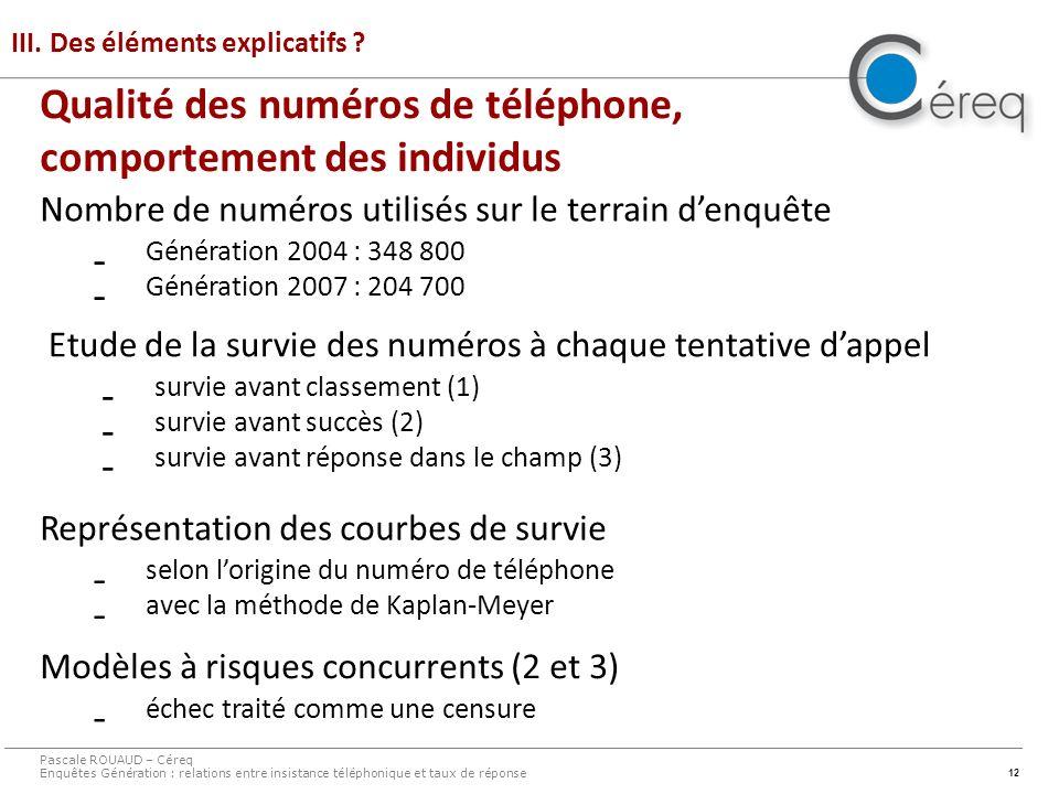12 Qualité des numéros de téléphone, comportement des individus III. Des éléments explicatifs ? Pascale ROUAUD – Céreq Enquêtes Génération : relations