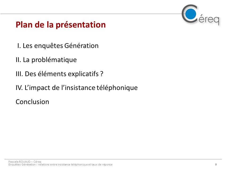 2 I. Les enquêtes Génération II. La problématique III.