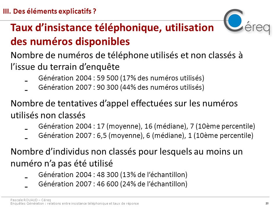 20 III. Des éléments explicatifs .