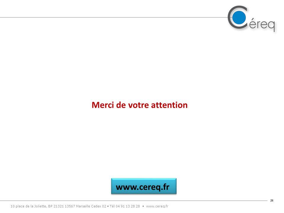 10 place de la Joliette, BP 21321 13567 Marseille Cedex 02 Tél 04 91 13 28 28 www.cereq.fr 26 www.cereq.fr Merci de votre attention
