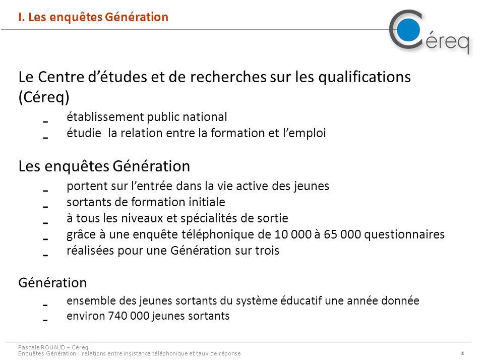 4 I. Les enquêtes Génération Le Centre détudes et de recherches sur les qualifications (Céreq)  établissement public national  étudie la relation en