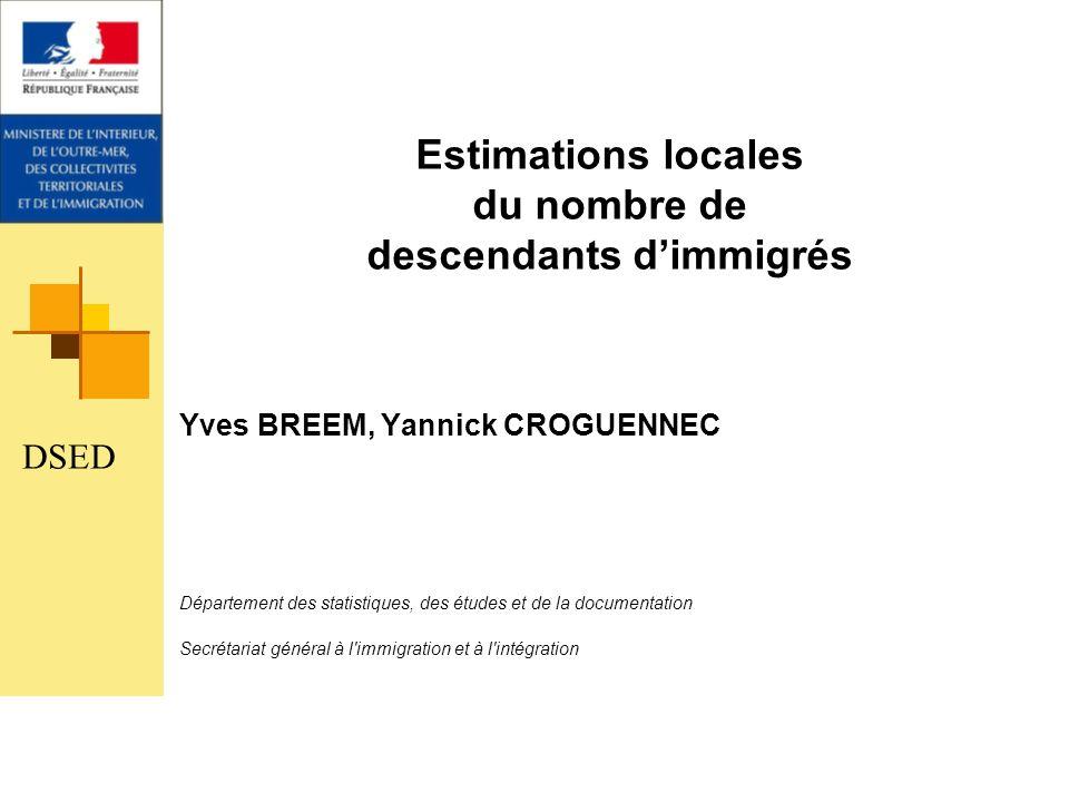 Estimations locales du nombre de descendants dimmigrés Yves BREEM, Yannick CROGUENNEC Département des statistiques, des études et de la documentation