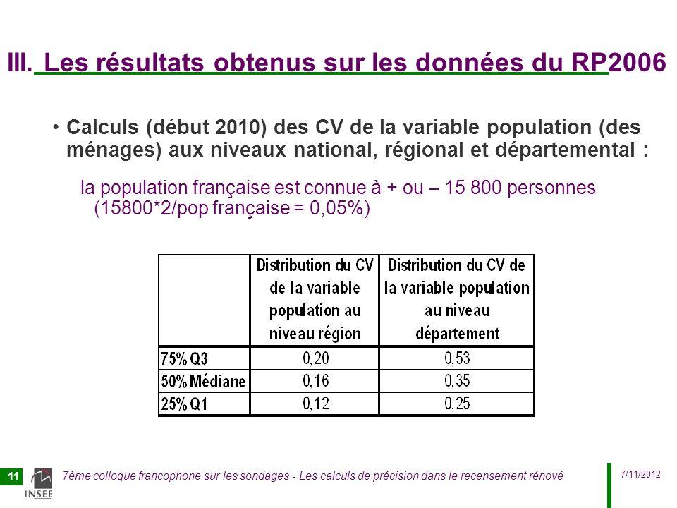 7/11/2012 7ème colloque francophone sur les sondages - Les calculs de précision dans le recensement rénové 11 III. Les résultats obtenus sur les donné