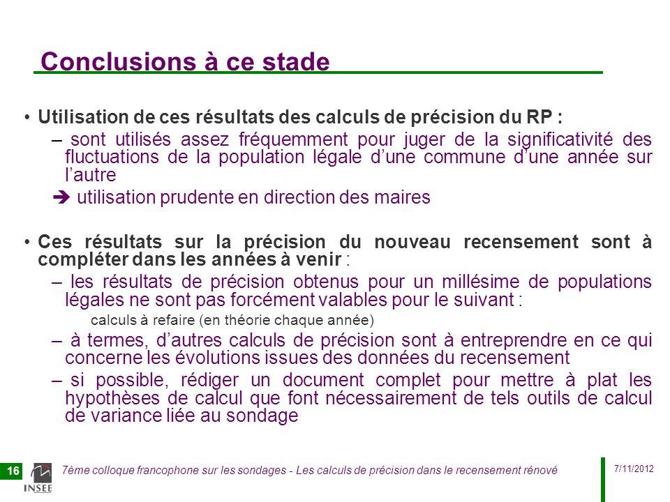 7/11/2012 7ème colloque francophone sur les sondages - Les calculs de précision dans le recensement rénové 16 Conclusions à ce stade Utilisation de ce