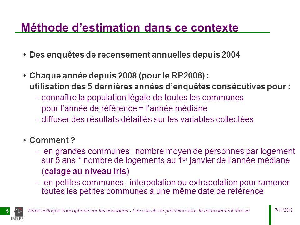 7/11/2012 7ème colloque francophone sur les sondages - Les calculs de précision dans le recensement rénové 5 Méthode destimation dans ce contexte Des
