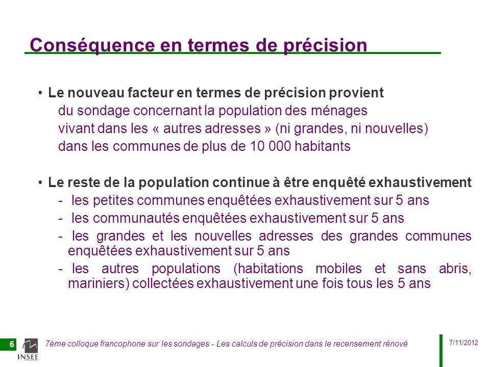 7/11/2012 7ème colloque francophone sur les sondages - Les calculs de précision dans le recensement rénové 6 Conséquence en termes de précision Le nou