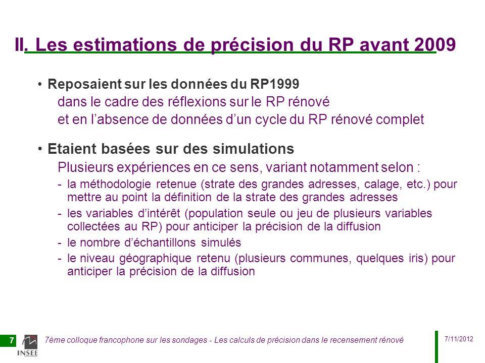 7/11/2012 7ème colloque francophone sur les sondages - Les calculs de précision dans le recensement rénové 7 II. Les estimations de précision du RP av