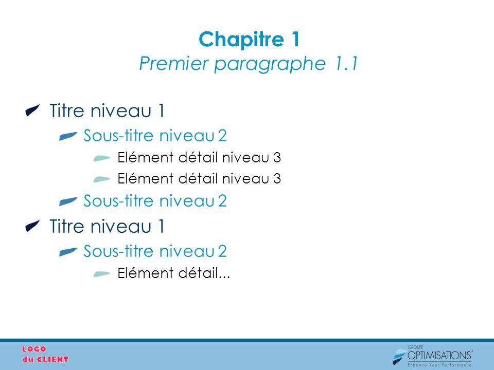 Chapitre 1 Premier paragraphe 1.1 Titre niveau 1 Sous-titre niveau 2 Elément détail niveau 3 Sous-titre niveau 2 Titre niveau 1 Sous-titre niveau 2 El