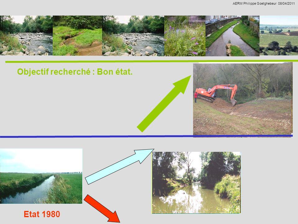 Travaux de restauration en 1990/2010. Définition dobjectifs encore plus ambitieux. AERM Philippe Goetghebeur 08/04/2011 Etat 1980 Objectif recherché :