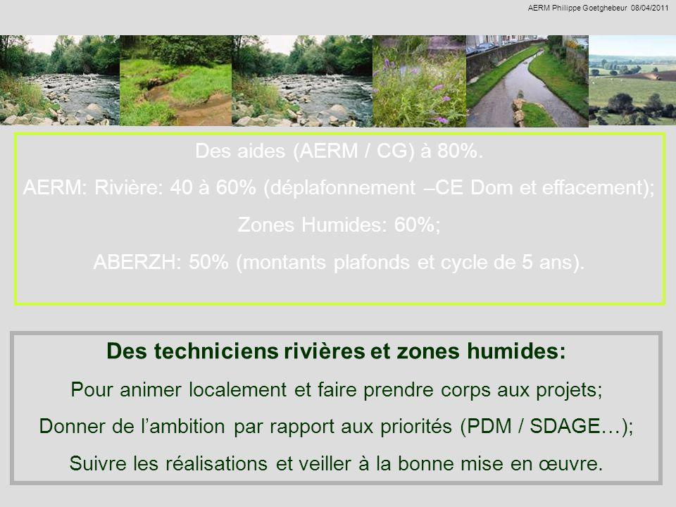 Des aides (AERM / CG) à 80%. AERM: Rivière: 40 à 60% (déplafonnement –CE Dom et effacement); Zones Humides: 60%; ABERZH: 50% (montants plafonds et cyc