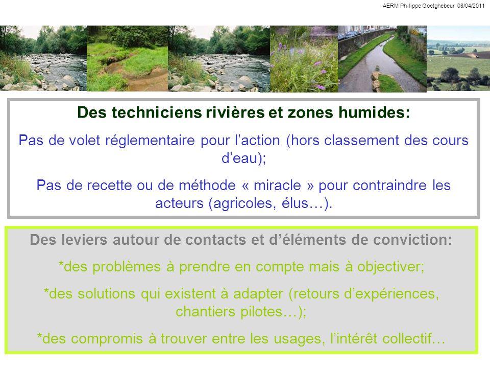Des techniciens rivières et zones humides: Pas de volet réglementaire pour laction (hors classement des cours deau); Pas de recette ou de méthode « mi