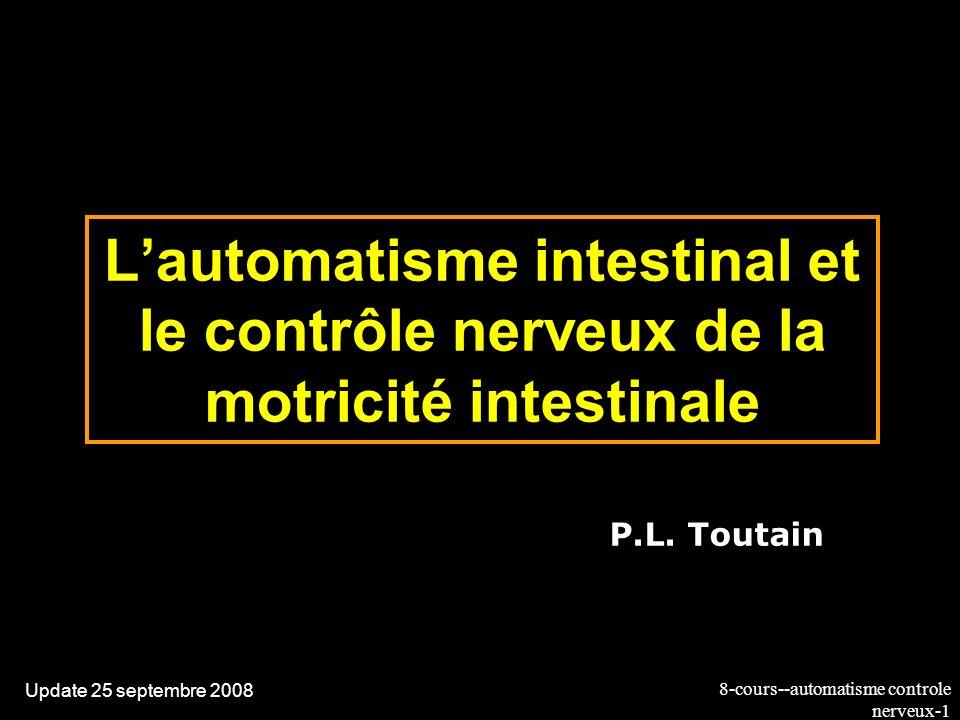 8-cours--automatisme controle nerveux-32 Le système nerveux intrinsèque: les plexus Les plexus sont reliés entre eux par des axones non myélinisés Des plexus partent des axones qui cheminent entre les fibres musculaires Pas de véritables synapses neuromusculaires