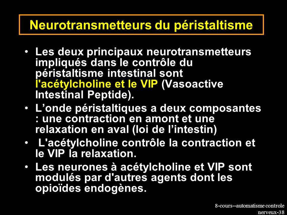 8-cours--automatisme controle nerveux-38 Neurotransmetteurs du péristaltisme Les deux principaux neurotransmetteurs impliqués dans le contrôle du péri